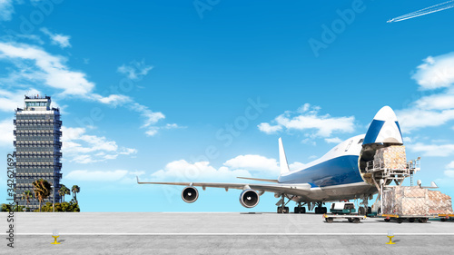 loading cargo airplane on airport runway wide panorama landscape with freight co Fototapeta