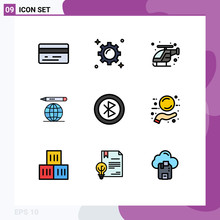 9 User Interface Filledline Flat Color Pack Of Modern Signs And Symbols Of Network, Computer, Fast, Bluetooth, Education Globe