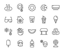 Set Of Summer Icons, Hot, Ice ...