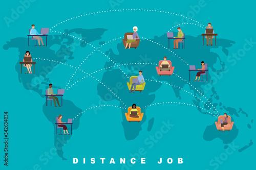 Distance job concept. Online business. Freelance. People #342634034