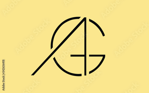 AG or GA and A, G Uppercase Letter Initial Logo Design, Vector Template Canvas Print