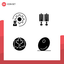Pack Of 4 Modern Solid Glyphs Signs And Symbols For Web Print Media Such As Coding, Canada, Process, China, Flag