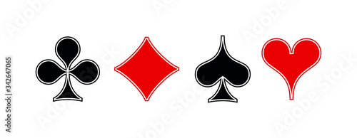 Vászonkép Set shape diamonds, clovers, hearts, spades 4 Playing card suits icons template black and red color editable