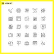 Stock Vector Icon Pack of 25 Line Signs and Symbols for person, growth, card, pills, medication