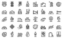Illegal Immigrants Icons Set. ...