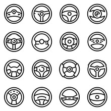 Steering Wheel Icons Set. Outline Set Of Steering Wheel Vector Icons For Web Design Isolated On White Background