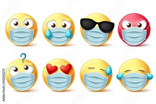 Emoticons face mask vector emojis set. Emojis and covid-19 emoticons with face mask and facial expressions isolated in white for covid-19 corona virus design elements. Vector illustration.