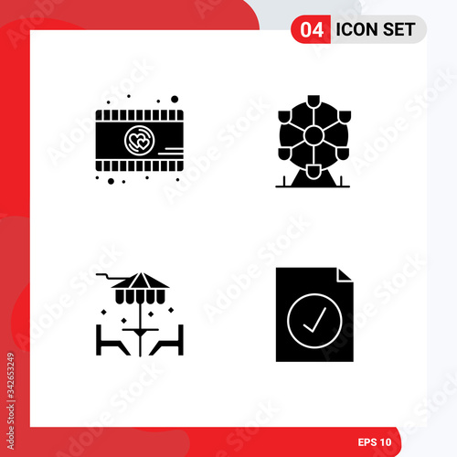 Set of 4 Commercial Solid Glyphs pack for romantic movie, furniture, atomium, be Canvas Print