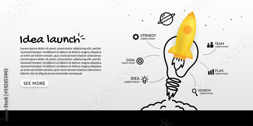 Cuadros en Lienzo Rocket launching to space with light bulb infographic, business starp up concept