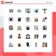 Universal Icon Symbols Group of 25 Modern Filled line Flat Colors of wifi, service, check in, storage, cloud storage