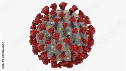 Fototapety, obrazy: corona virus isolated on white background, Coronavirus disease COVID-19, 3D Rendering