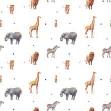 Kids Animals Pattern. Hand Dra...