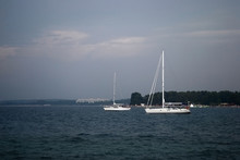 Yacht In The Sea. Landscape Wi...