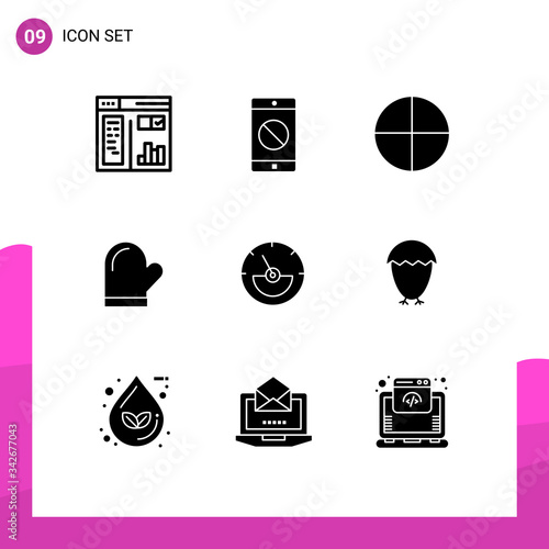 Group of 9 Modern Solid Glyphs Set for eletrical, ampere, pill, oven, gloves Canvas Print