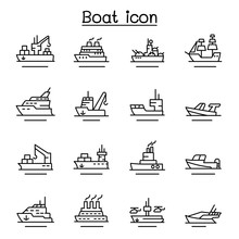 Boat, Ship Icon Set In Thin Li...