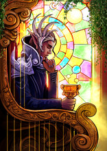 """The Handsome Elf King Is Thoughtfully Sitting In His Golden Chair With A Cup In His Hand, Behind Him Is A Beautiful Stained Glass Window, Symbolizes The Tarot Card """"king Of The Cups"""". 2d Illustration"""