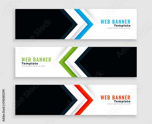 Fototapeta modern web banners or headers in arrow shape style obraz