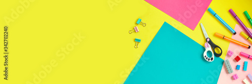 School supplies, stationery on yellow background - space for caption Fototapeta
