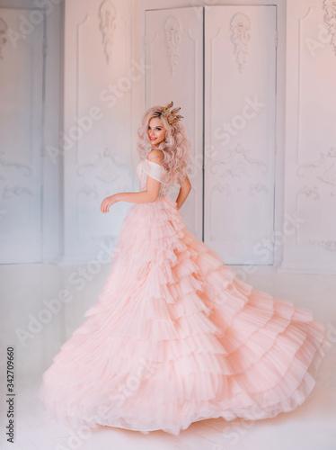 Carta da parati Cheerful beautiful princess girl blonde laugh smiling