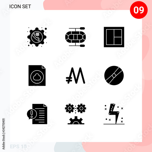 фотография Pack of 9 creative Solid Glyphs of crypto, mona coin, furniture, file, cloud
