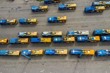 Trolleybuses In The Parking Lot Top View