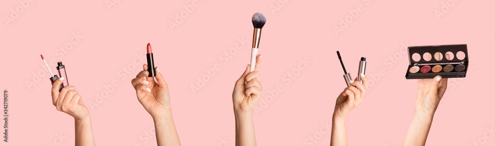 Fototapeta Collection of different makeup products in female hands, collage on pink background
