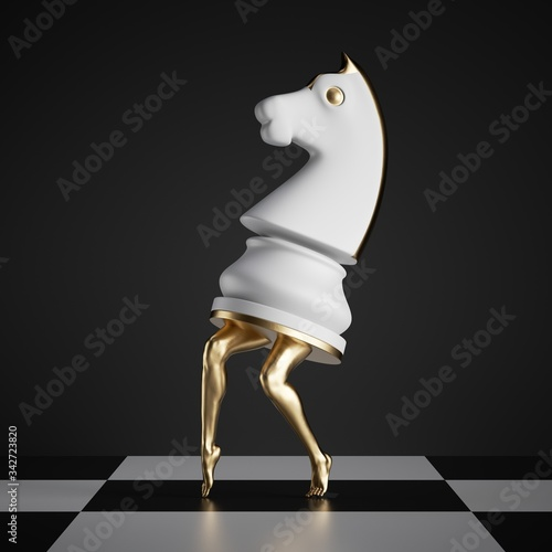 Foto 3d render, surreal concept, chess game piece, white knight, horse with golden sl