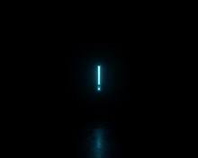 Blue Neon Glowing Exclamation ...