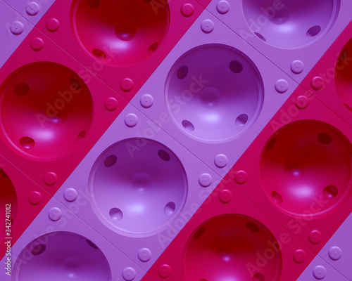 Spherical dimpled background with pink tints. 3d Rendering. Canvas-taulu