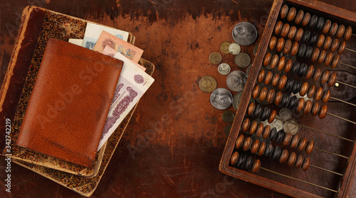 Banknotes, coins of the times of the USSR and the vintage abacus Wallpaper Mural