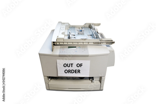 Obsolete degraded office copier on white background Canvas-taulu