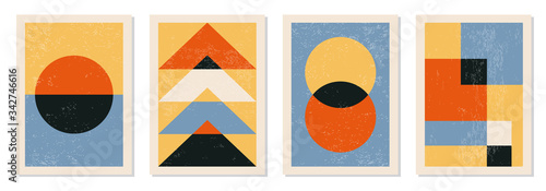 Photo Set of minimal 20s geometric design posters, vector template with primitive shap