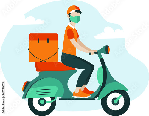 Fotografie, Obraz Delivery guy on motor scooter wearing mask