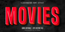 Movies Text, 3d Red Movie Styl...