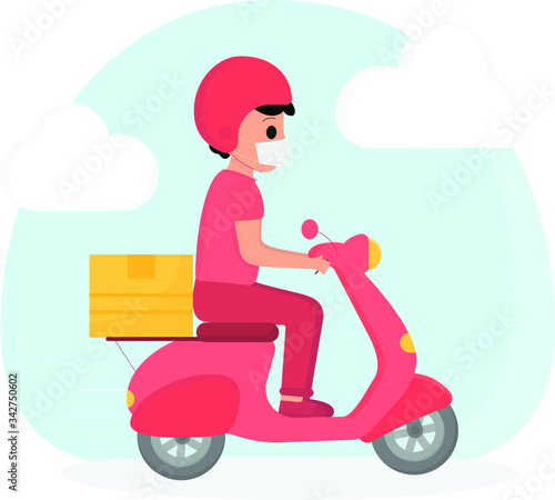 Fotografie, Obraz Delivery boy with mask on motor scooter