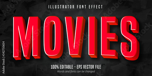 Obraz Movies text, 3d red movie style editable font effect - fototapety do salonu