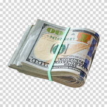 Wad Of Folded 100 Or Hundred US Dollar Bills Tied With Rubber Band On Isolated Background. Shallow Dept Of Field. Including Clipping Path.