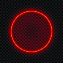 Neon Round Lamp Wall Sign Isol...