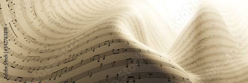 Fényképezés Abstract musical notes background; art concepts, original 3d rendering, RF illus