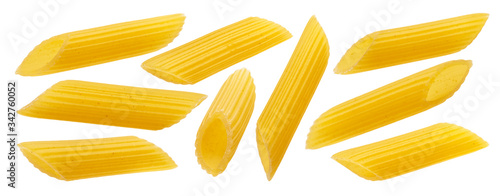 Fotografiet Raw italian penne rigate pasta isolated on white background