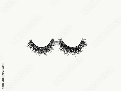 Photo A hand drawn image of a full and fluffy set of black false strip lashes against