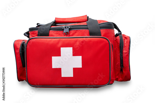 Fotografie, Tablou First aid kit bag or emergency rescue bag isolated on white background with clip