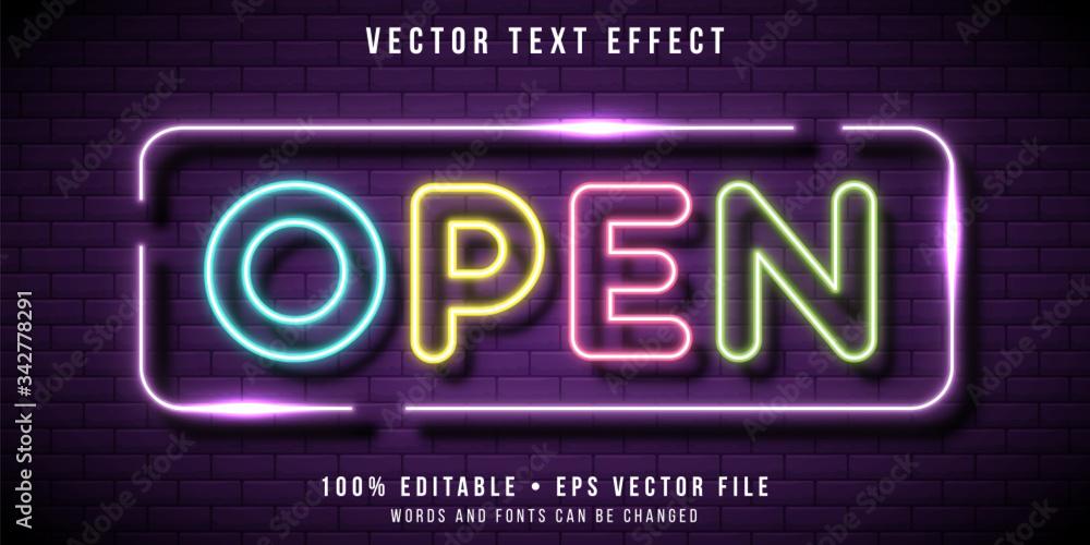 Fototapeta Editable text effect - neon signage style