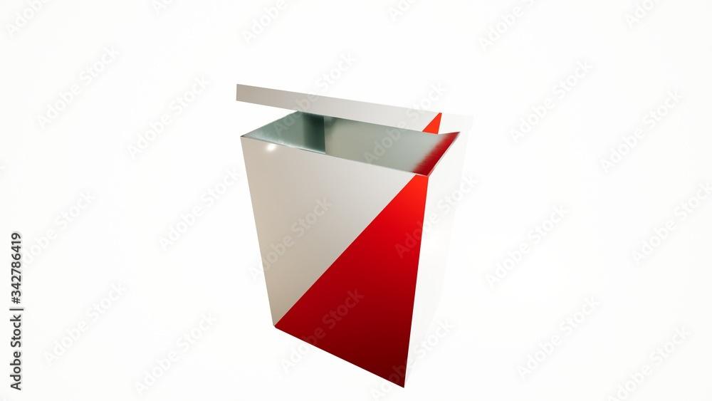 Fototapeta Skrzynia wyborcza, wybory, głosowanie, karty do głosowania, ilustracja w 3D