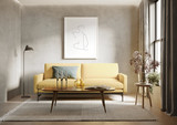 3d render of agrungy concrete room with a yellow sofa an art canvas and many plants and flowers