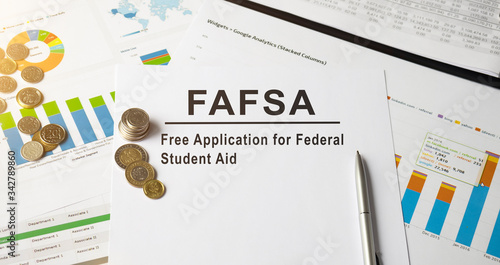 FAFSA inscription on the documents. Business concept Canvas Print