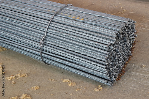 A pack of steel reinforcement in a warehouse of a metal depot Canvas Print