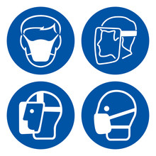 Face Shield And Mark Protection Symbol Sign,Vector Illustration, Isolated On White Background Label. EPS10