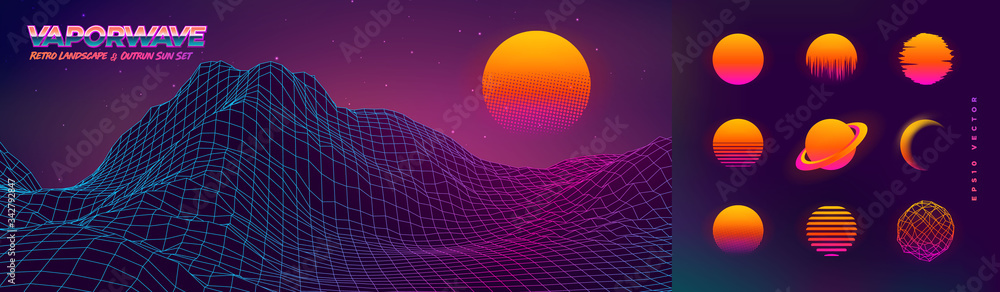 Fototapeta Futuristic neon retrowave background. Retro low poly grid wireframe landscape mountain terrain with set of glowing outrun sun vector illustration template - obraz na płótnie