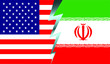 Flags of the United States and Iran divided by lightning. Vector image. Confrontation between countries. Political tension.